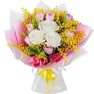 Букет из 15 тюльпанов +30% цветов с доставкой в Новосибирске