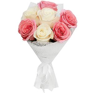Букет из 7 белых и розовых роз с доставкой в Новосибирске