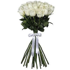 Букет из 21 белой розы - премиум